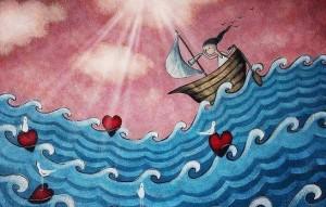 barca onde cuori