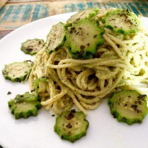 foto spaghetti crema pistacchi e zucchine 1